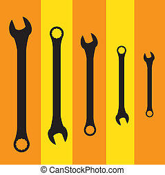 Stainless steel spanners silhouette illustration