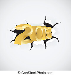 new year 2013 passes through the hole in paper - illustration