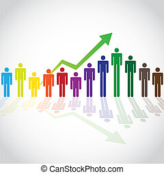 Growing people in graph concept, illustration