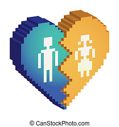 broken heart 3d pixels - illustration