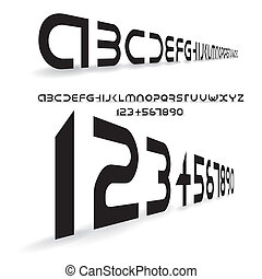 futuristic alphabet font, letters and numbers - illustration
