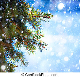 Art Christmas tree branch and snow fall - Christmas tree...