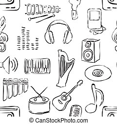 seamless sketch music pattern