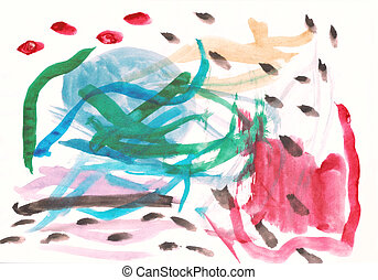 Children's multi-coloured drawing a water colour on a paper...