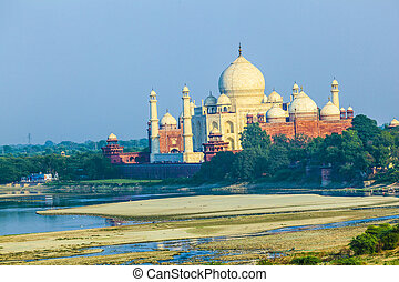 perspective view on Taj-Mahal mausoleum from red fort, Agra