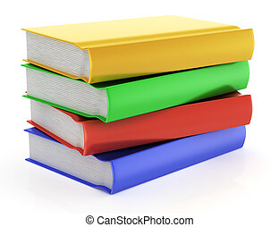 stack of books isolated on white background. 3d rendered...