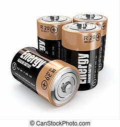 Energy batteries on white backround Three-dimensional image...