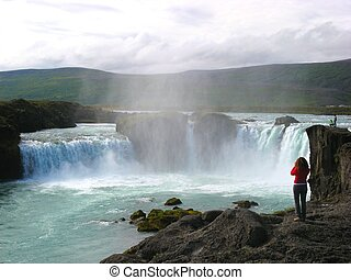 Wide angle shot of the famous Godafoss waterfall on Iceland,...