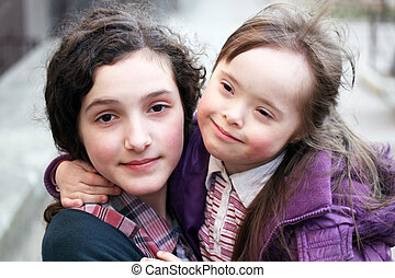Little girl with sister