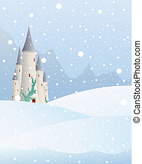 snowy castle - an illustration of a fairytale castle in a...