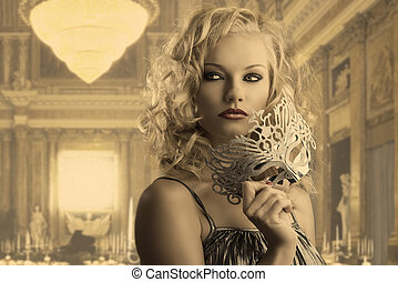 blonde girl with silver mask looks at right - pretty blonde...
