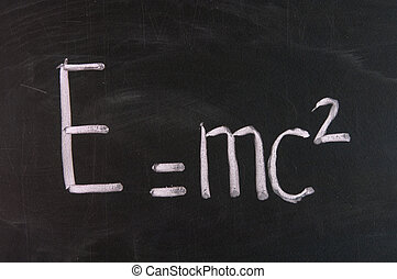 Formula e=mc2 Theory of relativity written on school...