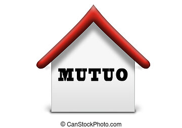 House illustration - Mutuo (Italian) - white and red