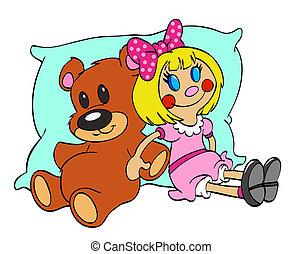Teddy Bear & Rag Doll Friends - hand drawn cartoon of...