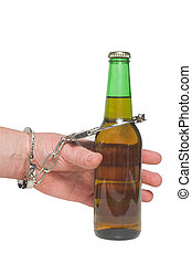 Alcoholic - An alcoholic chained to his beer bottle.