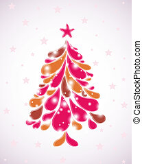 Abstract pink christmas tree. Vector - Abstract christmas...