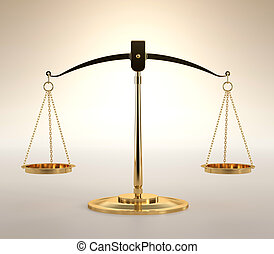 Scales of Justice - 3D illustration of scales of justice on...