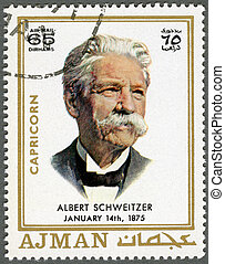 AJMAN - 1970: shows Albert Schweitzer (1875-1965) - AJMAN -...