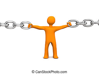 Cohesion - Orange cartoon character holds the chain. White...