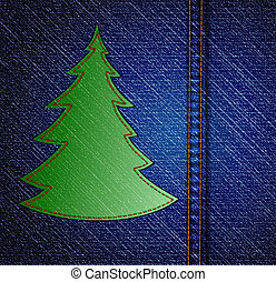 Background - a material of jeans with christmas tree. Vector