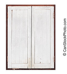 old wooden window on white background - old wooden window on...