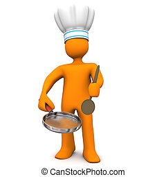 Chef Frying Pan - Orange cartoon character with chefs cap,...