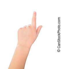 Touch screen child gesture - A little girl's hand touches...