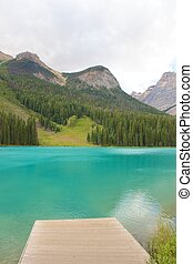 Wooden pier at Emerald Lake in Yoho National Park