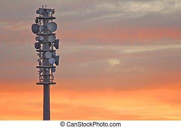 Radio tower at dusk