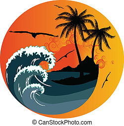 Ocean wave and tropical island illustration