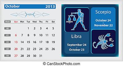 October 2013 Calendar and zodiac