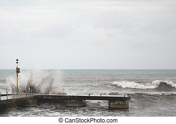 Seadock in heavy weather on Majorca island, Spain