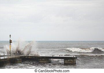 Seadock in heavy weather on Majorca island, Spain