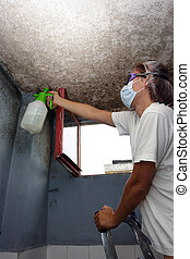 against mold - woman sprayed with detergent against mildew
