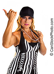 Sexy Referee Signals You are out - Sexy woman referee...