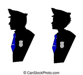 police  - male and female officers in silhouette over white