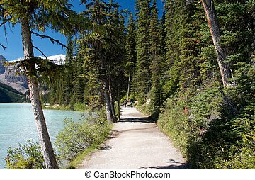 Walking trail along Lake Louise, Canada
