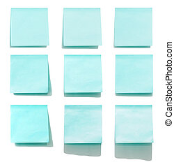 blue memo stick isolated on white background