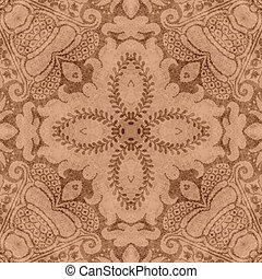 Vintage Brown & Tan Floral Tapestry - Seamless worn tapestry...