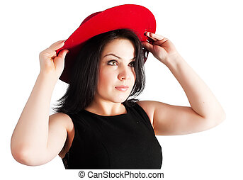 young beautiful woman with red hat