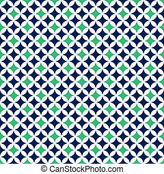 Seamless Cathedral Window Pattern - Deep navy blue, green,...