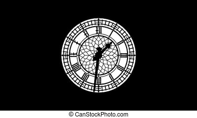 Clock-102-20 - Motion background with spinning clock in 12...