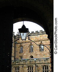 Arc and lamp in Durham Castle - Architecture detail with...