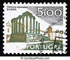 Postage stamp Portugal 1974 Roman Temple, Evora - PORTUGAL -...