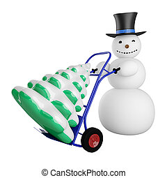 Snowman with Christmas tree on a pushcart