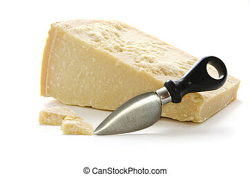 Parmisan cheese and knife in white background - Parmisan...