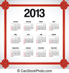 Calendar 2013 with red bows