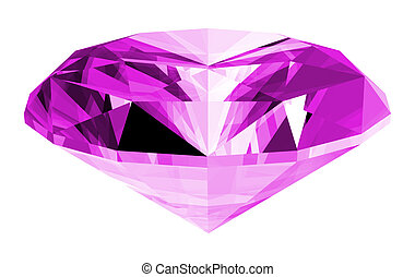 3d Amethyst Gem Isolated - A 3d illustration of a amethyst...