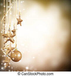 Christmas theme with golden glass stars and free space for...