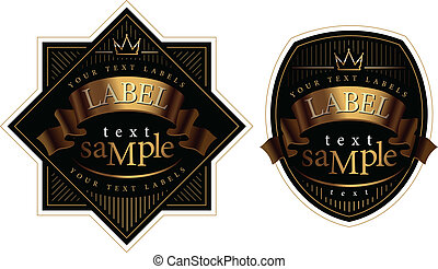 Black wine label with a gold ribbon